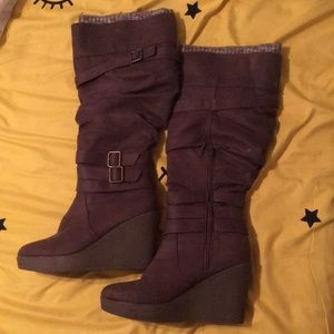 Brown wedges boots size 9